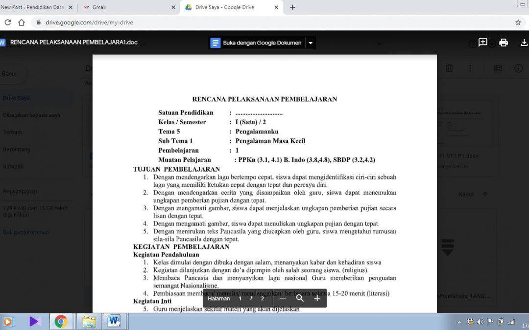 RPP K13 Kelas 1 Tema 5 Semester 2 Terbaru